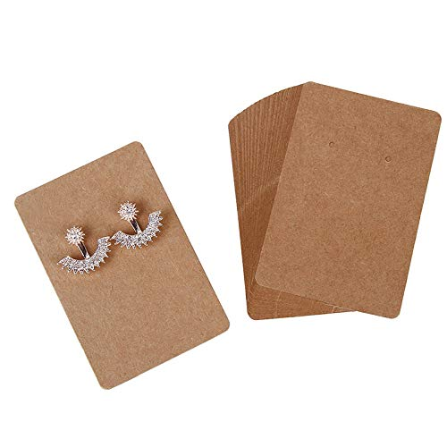 Rocutus 300 Pieces Earring Cards,Earring Display Card,Earring Card Holder Blank Kraft Paper Tags for DIY Ear Studs and Earrings