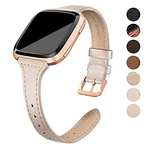 SWEES Leather Bands Compatible with Fitbit Versa 2 / Fitbit Versa Lite & SE/Fitbit Versa, Slim Thin Genuine Leather Replacement Strap for Versa Women (5.5 - 7.9), Black, Champagne, Rose Gold, Tan