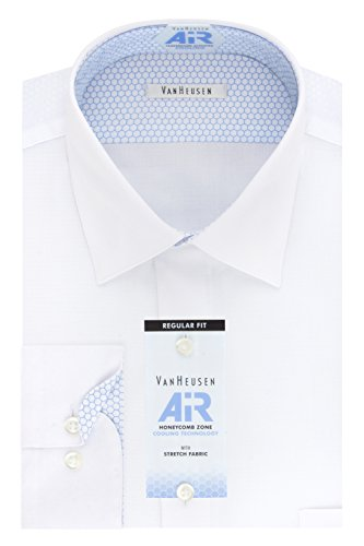 Van Heusen Men's Air Regular Fit Solid Spread Collar Dress Shirt, White, 15.5