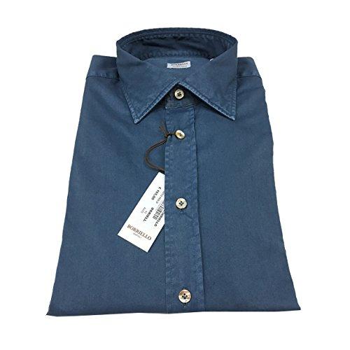 BORRIELLO NAPOLI camicia uomo azzurro denim old 100 % cotone slim MADE IN ITALY