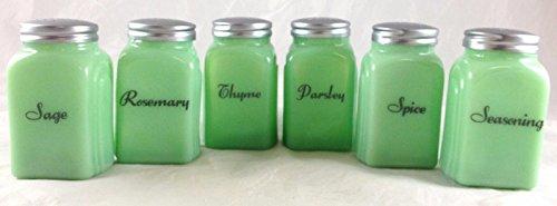 6 Pc Jadite Green Glass Roman Arch Pattern Spice Jar Jadeite Shakers Set # 6