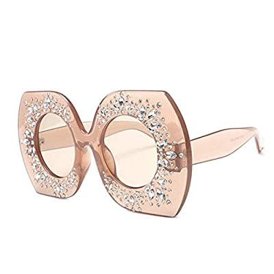 NEW Oversized Square Crystal Sunglasses Women Rhinestone Frame Round Lens Female Sun Glasses Shades OM538