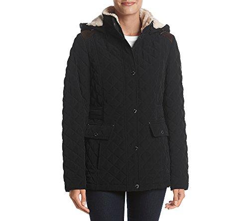 Quilt Faux Fur Hood Coat - 8
