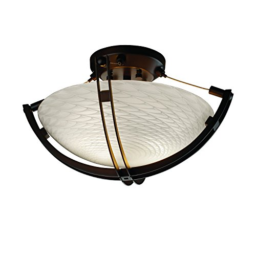 Justice Design Group Lighting FSN971035WEVEDBRZ FusionCollection 14-Inch Semi-Flush Bowl with Crossbar