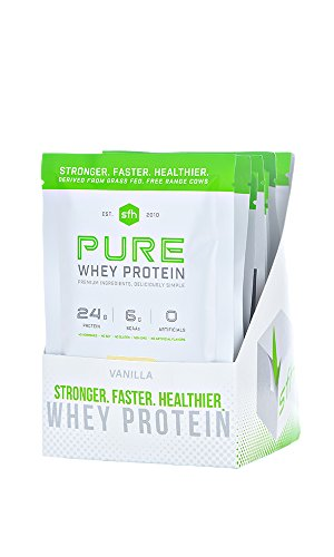 PURE Whey Protein Powder by SFH | Best Tasting 100% Grass Fed Whey | All Natural | 100% Non-GMO, No Artificials, Soy Free, Gluten Free (Vanilla, 10 Single Serve Pouches)