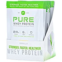 PURE Whey Protein Powder (Vanilla) by SFH   Best Tasting 100% Grass Fed Whey   All Natural   100% Non-GMO, No Artificials, Soy Free, Gluten Free   Single Serve 10 Count