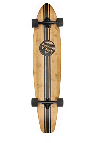 "Price comparison product image Ten Toes Board Emporium Zed Bamboo Longboard Skateboard Cruiser, 44"", Black Pipeline"