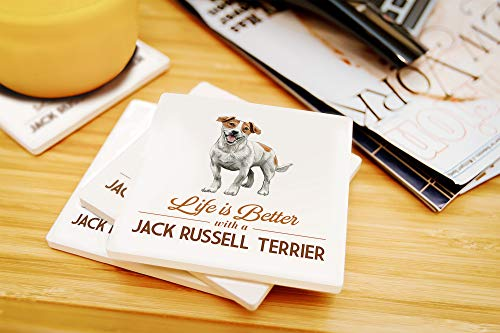 Lantern Press Jack Russell Terrier - Life is Better - White Background (Set of 4 Ceramic Coasters - Cork-Backed, Absorbent) 3