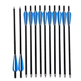 Jocoo 20' Carbon Crossbow Bolts Hunting Archery Arrows with 4' vanes and Replaced Arrowhead/Tip (12 Pack)