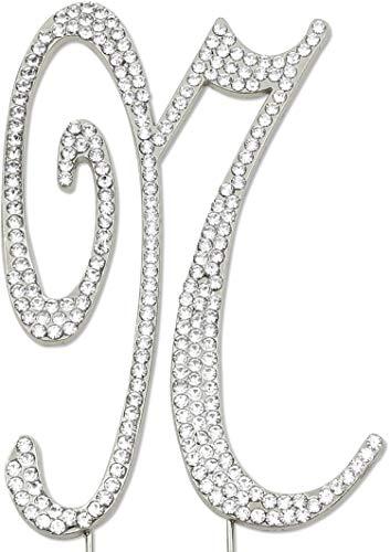 Sparkly Rhinestones Letter N Cake Topper, Birthday Wedding Anniversary Silver Initial N