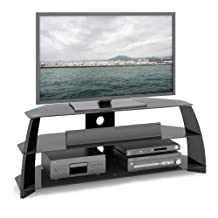 CorLiving TAP-509-T Taylor Glossy Black TV Stand with Glass Shelves