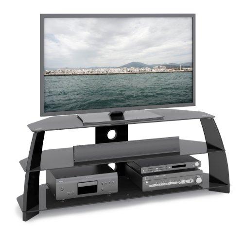 glass tv stand black - 8