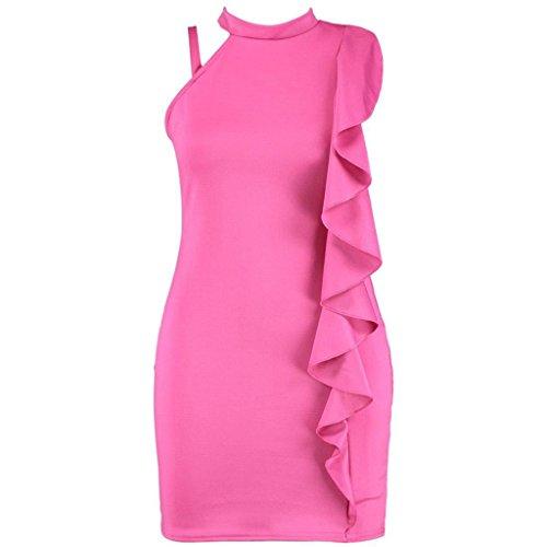 Top Fashion18 Damen Ärmellos Poppy Rüschen Detail High Neck Bodycon Plus Size Kleid Cerise