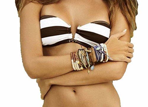 PilyQ Woman's Godiva Brown White Striped Bandeau Bikini Top (S)