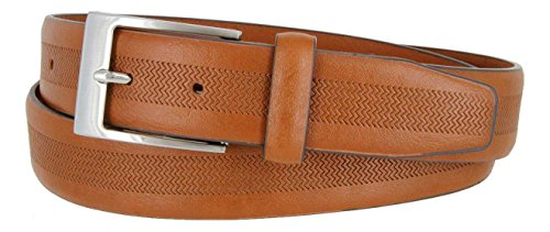 Wide Leather Casual Dress Belt (Cognac, 34) (Belt Cognac)