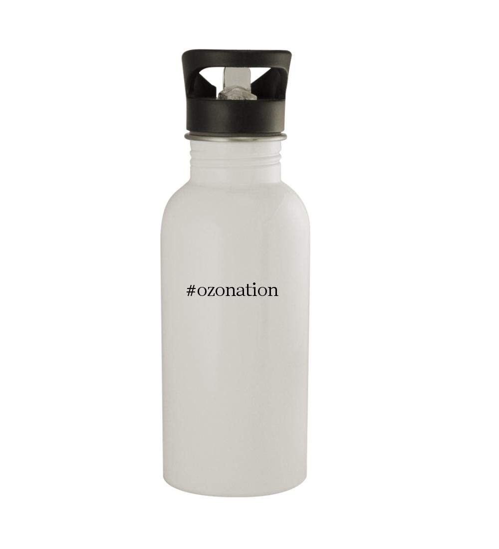 Knick Knack Gifts #Ozonation - 20oz Sturdy Hashtag Stainless Steel Water Bottle, White