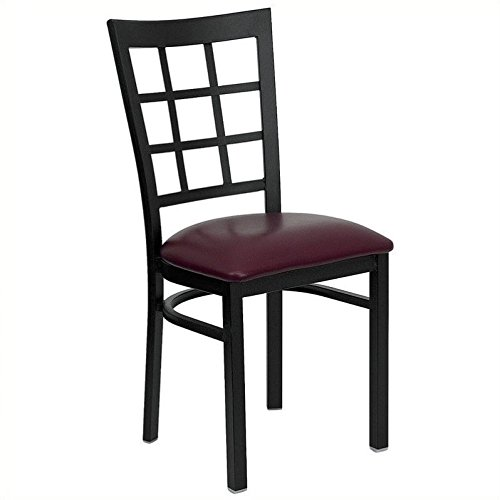 Bowery Hill Black Window Back Dining Chair in Burgundy