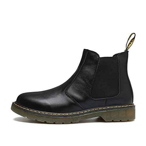 Mens Plus Size Cowskin Ankle Booties Winter Short Chelsea Boots 6117 Black bPnAes