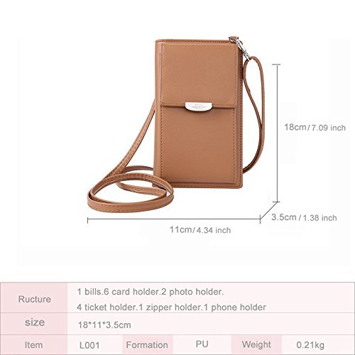 Women Girls Pouch Waterproof Phone for with Coin NYKKOLA Strap Cell Shoulder Bag Removable Purse Crossbody 46WHgO