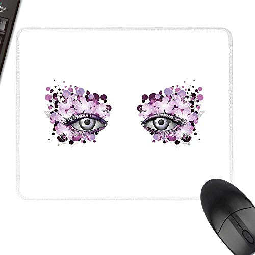 Eyelash Anti-Slip Mouse Mat Fantasy Look with Abstract Floral Makeup Design Dots Violet Summer Blossoms for Computers, Laptop, Office & Home 11.8