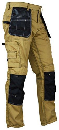 (Fashio Mens Utility Workwear Pants Cordura Knee Reinforcement Trousers Khaki W36-L32)