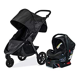 Britax B-Free Travel System with B-Safe Ultra Infant Car Seat – Birth to 65 Pounds, Midnight