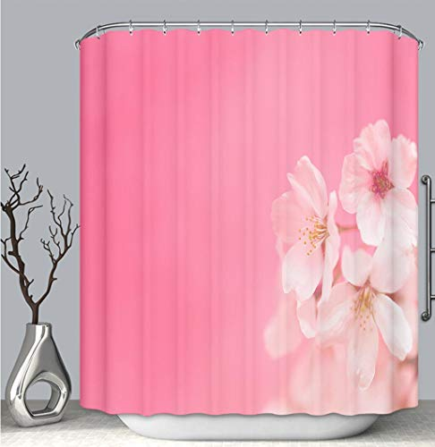 BEICICI Color Shower Curtain Liner Anti-Mildew Antibacterial, Cherry Blossoms Against Pink Background_ Multi-Color,Custom Shower Curtain Bathtub Bathroom Accessories. ()