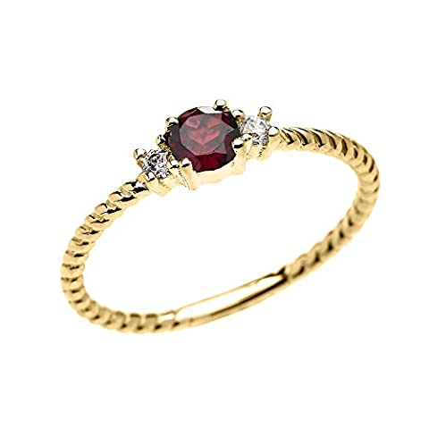 14k Yellow Gold Dainty Solitaire Garnet and White Topaz Rope Design Stackable/Proposal Ring(Size 7) (Ring Garnet Gold)