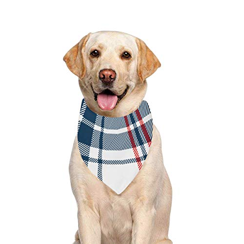 JTMOVING Dog Scarf Tartan Traditional Checkered British Fabric Printing Dog Bandana Triangle Kerchief Bibs Accessories for Large Boy Girl Dogs Cats Pets Birthday Party Gift