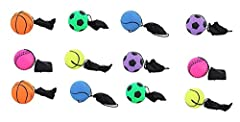 12 pcs Return Rubber Sport Ball on Nylon String with Wrist Band For Exercise or Play