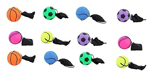 (AJ Toys & Games Bungee Cord Ball 12 Pc Wrist Stringed Rubber Bungee Ball (Colors & Styles Will Vary))