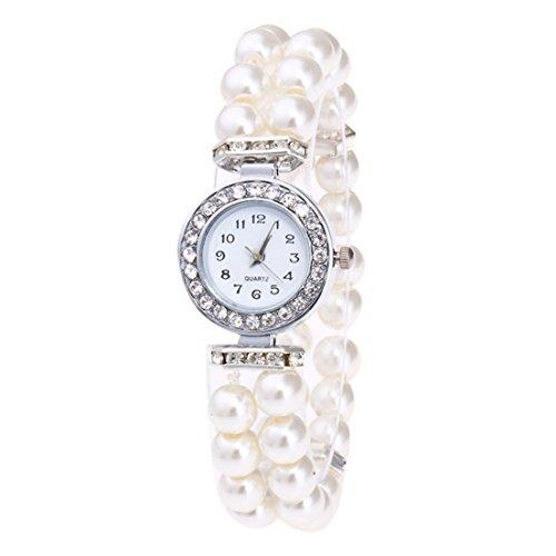 Bracelet White Ladies Watch (Hunputa Fashion Women Casual Pearl String Band Diamonds Round Watch Strap Quartz Wrist Watch Gift (White))