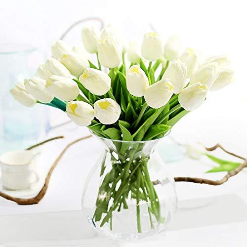 JUSTOYOU Latex Tulip, True Touch, Ramo de Flores Artificiales Decorativas, Hogar, Hotel, Jardin, Evento de Navidad, Blanco, Unidad 10