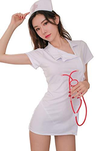 Aedericoe Nurse Costume Naughty Nursing Lingerie Uniforms Cute Women Nurse Outfit Dress White]()