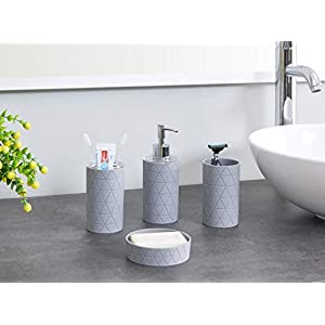 LIVIVO Stylish 6pc Bathroom & Sink Accessory Set – Modern Vanity Organiser Kit Include Tumbler, Toothbrush & Toilet Brush Holder, Lotion Dispenser, Soap Dish & Trash Bin (Grey Geo)