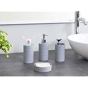 LIVIVO Stylish 6pc Bathroom & Sink Accessory Set – Modern Vanity Organiser Kit Include Tumbler, Toothbrush & Toilet…
