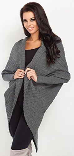 FOBYA - Rebeca chaqueta cuello de chal cárdigan asimétrico - para mujer - 479z Grafito