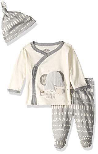 Gerber Baby Boys 3-Piece Shirt, Footed Pant and Cap Set, Tribe Stripe, Pree Monthsie