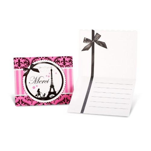 Paris Eiffel Tower Damask Party Supplies - Thank-You Notes (8)