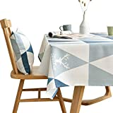 LINENLUX Stylish Square Rectangular Tablecloth/Table Cover for Kitchen Dinning Tabletop Decoration Blue Triangles Rectangle/Oblong 55 X 70 in