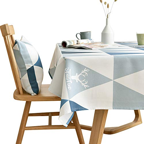 (LINENLUX Stylish Square Rectangular Tablecloth/Table Cover for Kitchen Dinning Tabletop Decoration Blue Triangles Rectangle/Oblong 55 X 70 in)