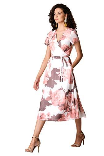 - eShakti Women's Floral Print Georgette wrap Dress XL-16 Regular Off-White/Rose/Mauve