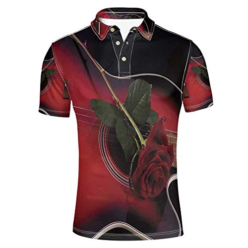 Red and Black Stylish Polo Shirt,Spanish Musician Portugal Hand Made Guitar with Romance Theme Love Rose for Men,XXXL