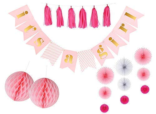 It's A Girl Baby Shower Banner and Decorations Kit   Pink Gold with Extra Long Gold Glitter Twine for Easy Hanging   Cardstock Flags Gender Reveal Christening   Pink Tassels - Girl Sprinkle