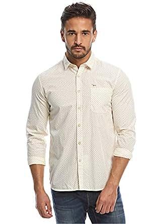 Flying Machine Cream Shirt Neck Shirts For Men