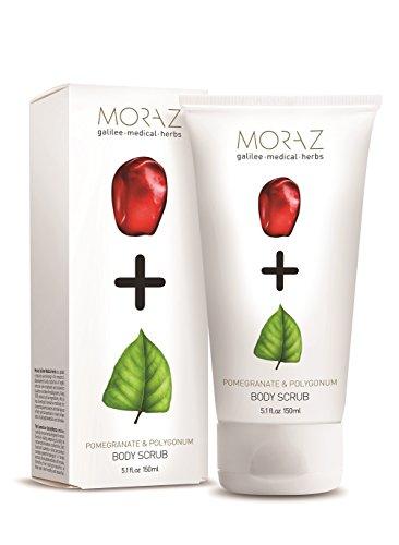 Moraz Herbal Infused Body Scrub | 100% Natural Pomegranate & Polygonum Extract | Nourishing and Replenishing All Skin Types (5.1 fl. oz. 150ml)