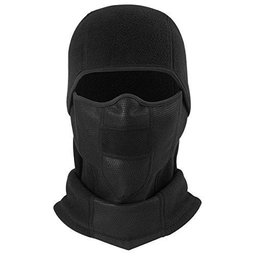 JIUSY Thermal Fleece Balaclava Outdoor Windproof Neck Warmer Full Face Mask for Motorcycle Cycling Skiing Snowboarding Riding Hunting Hiking Fishing Moisture Wicking Head Hood Warm Gear Black (Snow Head)