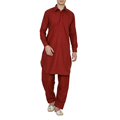 Royal Traditional Poly Cotton Pathani Suit Red Men's Diwali Kurta Pajama Ethnic Wear by Royal