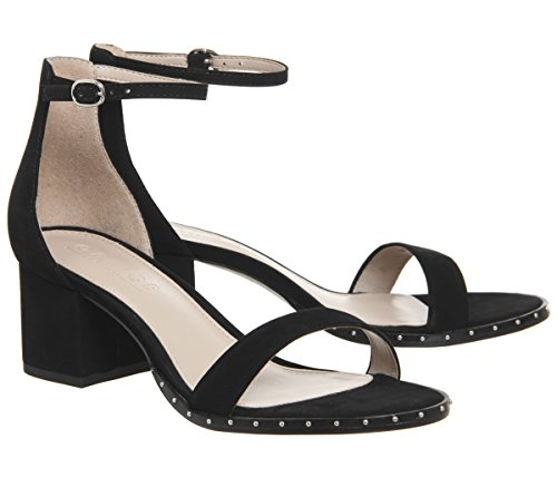 Black Block Sandals Nubuck Studded Finley Heel Rand Office IHfaq