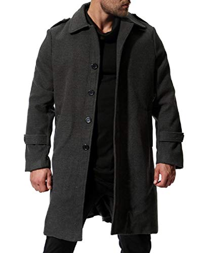 (Coolred-Men Textured Wool and Warm Slim Casual Trench Coat Jacket Dark Grey M)